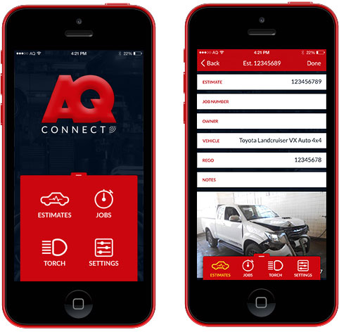 AQConnect App Dashboard and Add Estimate Preview
