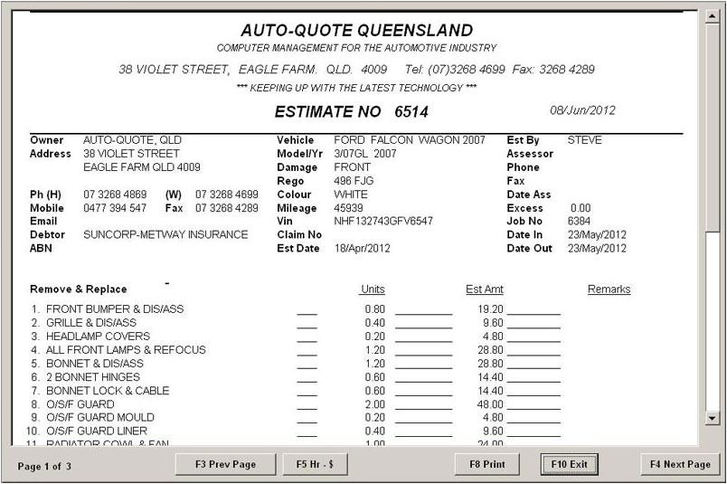 Auto-Quote Windows Estimate Preview